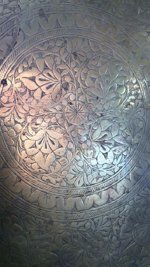 Brass Toned Decorative Tray W Floral Design - 2