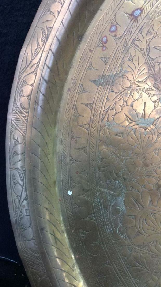 Brass Toned Decorative Tray W Floral Design - 3