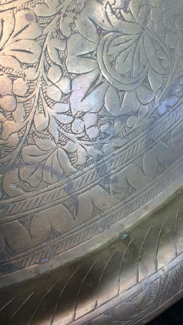 Brass Toned Decorative Tray W Floral Design - 4