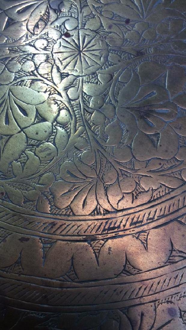 Brass Toned Decorative Tray W Floral Design - 6
