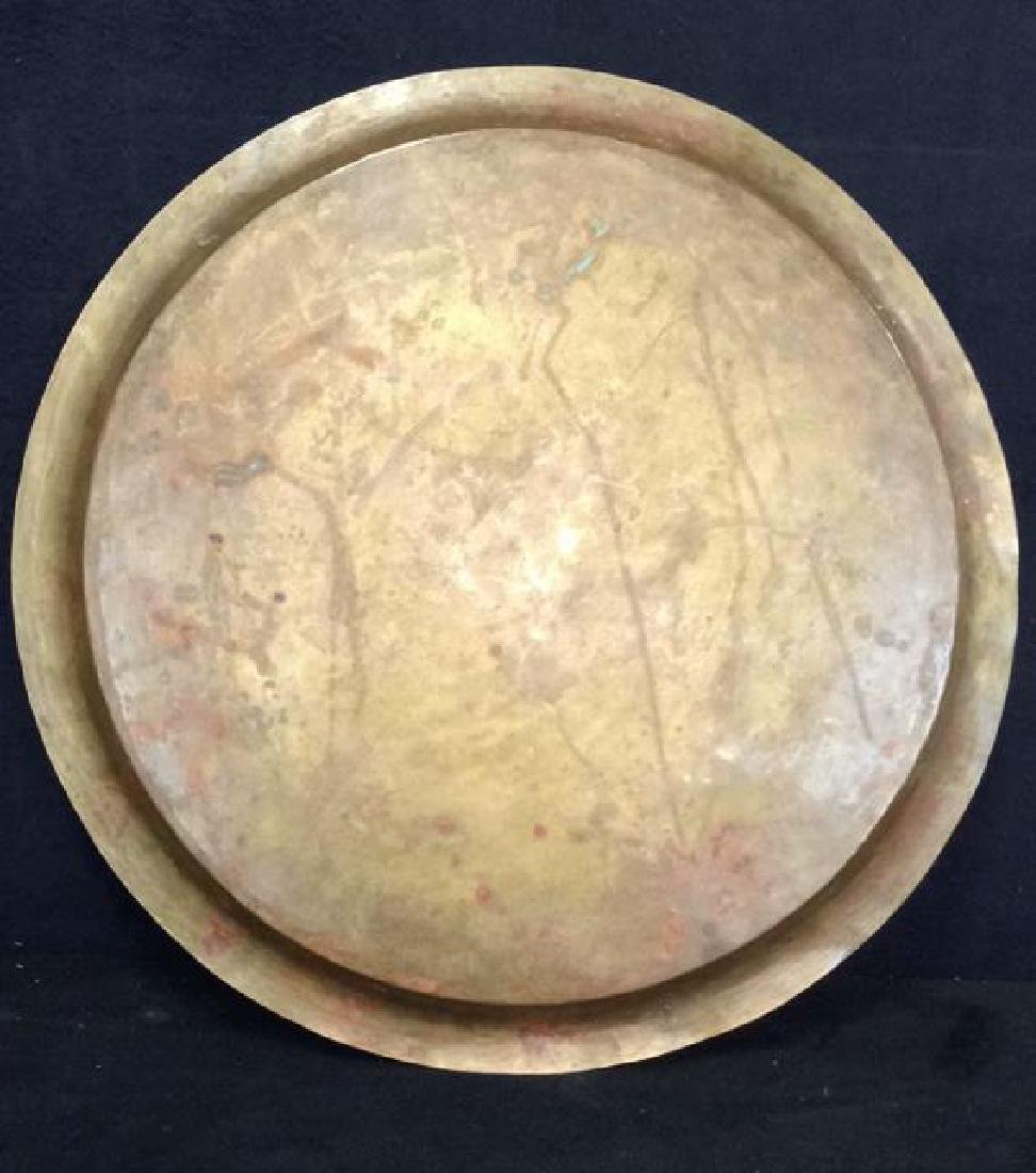 Brass Toned Decorative Tray W Floral Design - 7