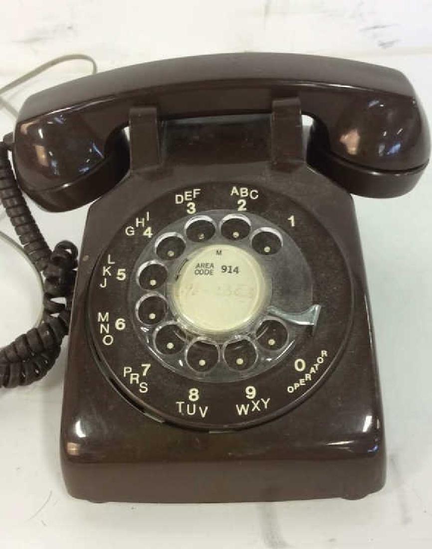 Vintage Brown Rotary Phone - 2