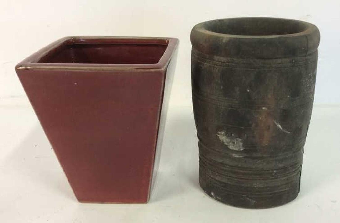 Lot 2 Vessels Ceramic and Wood planters