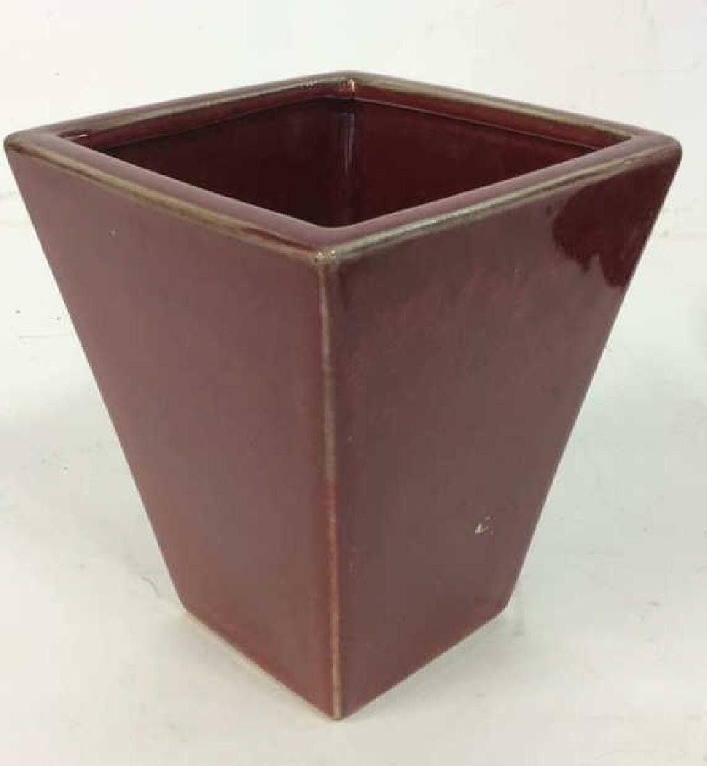 Lot 2 Vessels Ceramic and Wood planters - 2