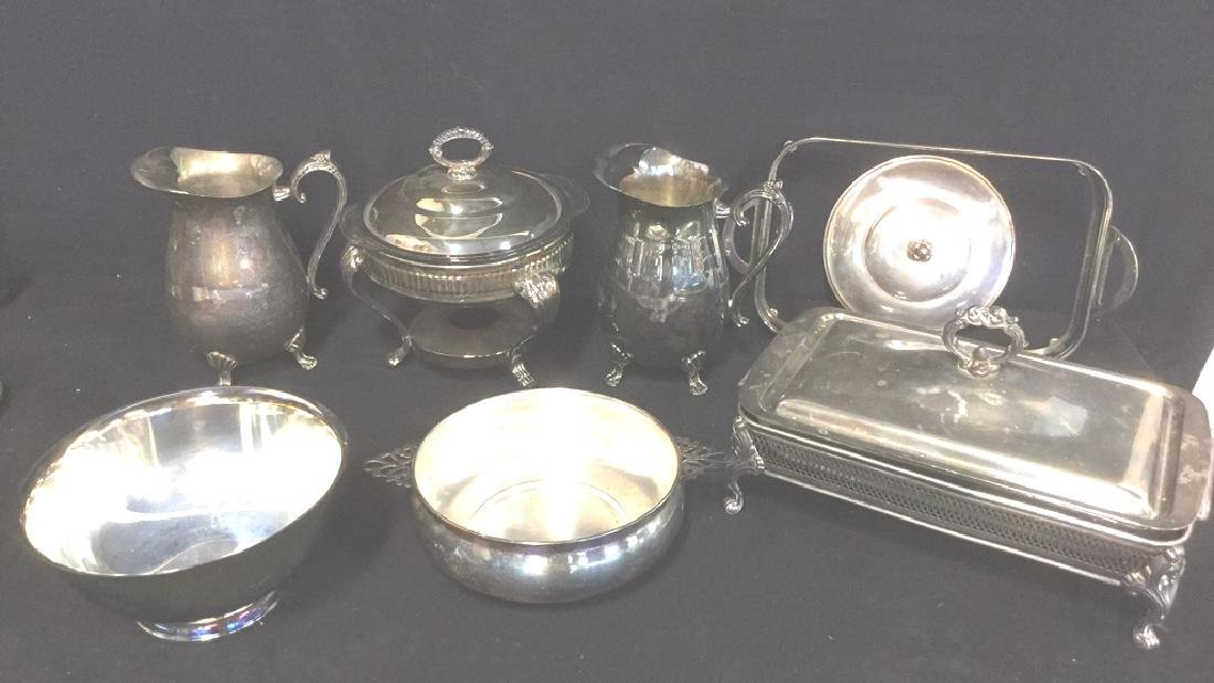 Lot 7 Mix Silver Plate Tabletop Servers