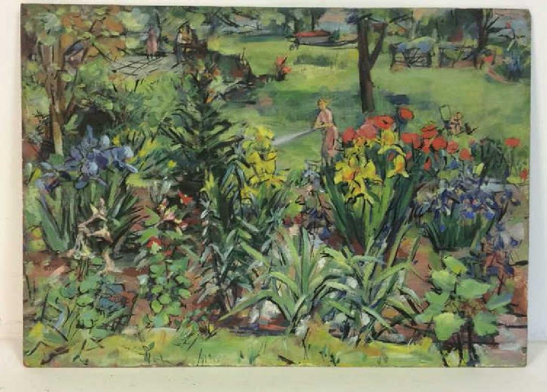 Painting on Board Garden and Figural Scene