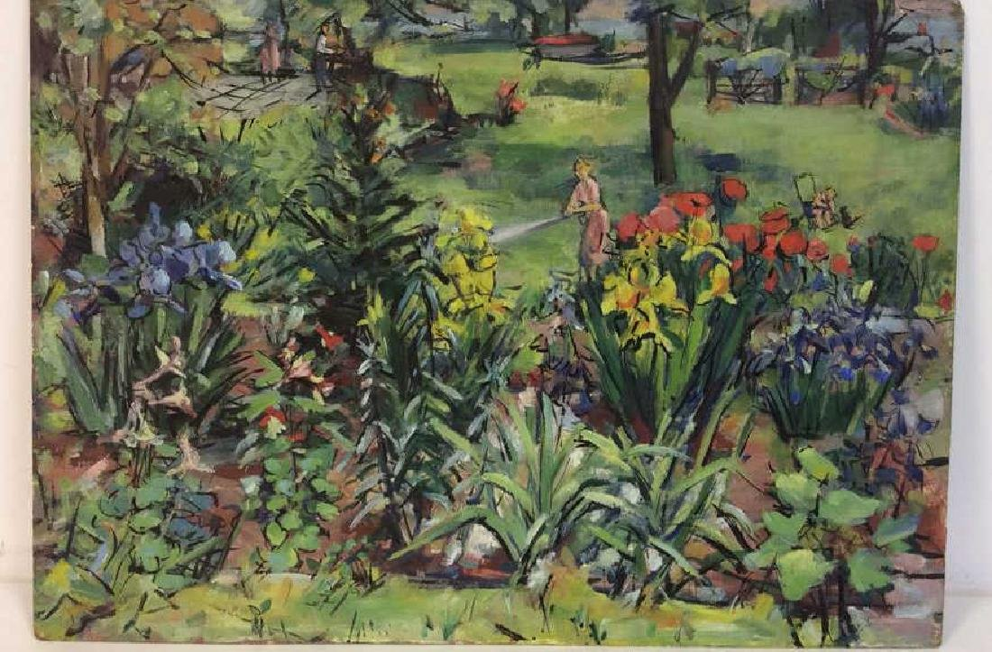 Painting on Board Garden and Figural Scene - 2