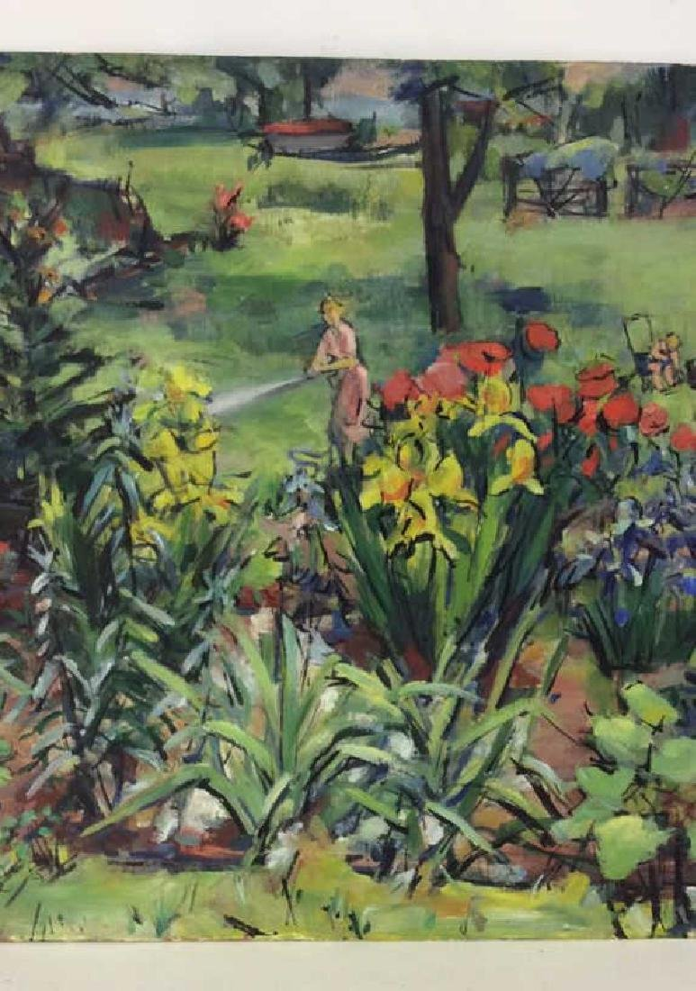 Painting on Board Garden and Figural Scene - 8