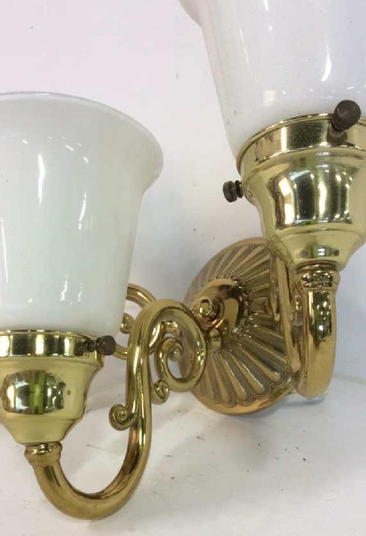 Brass Glass Triple Light Wall Mount Sconce - 3