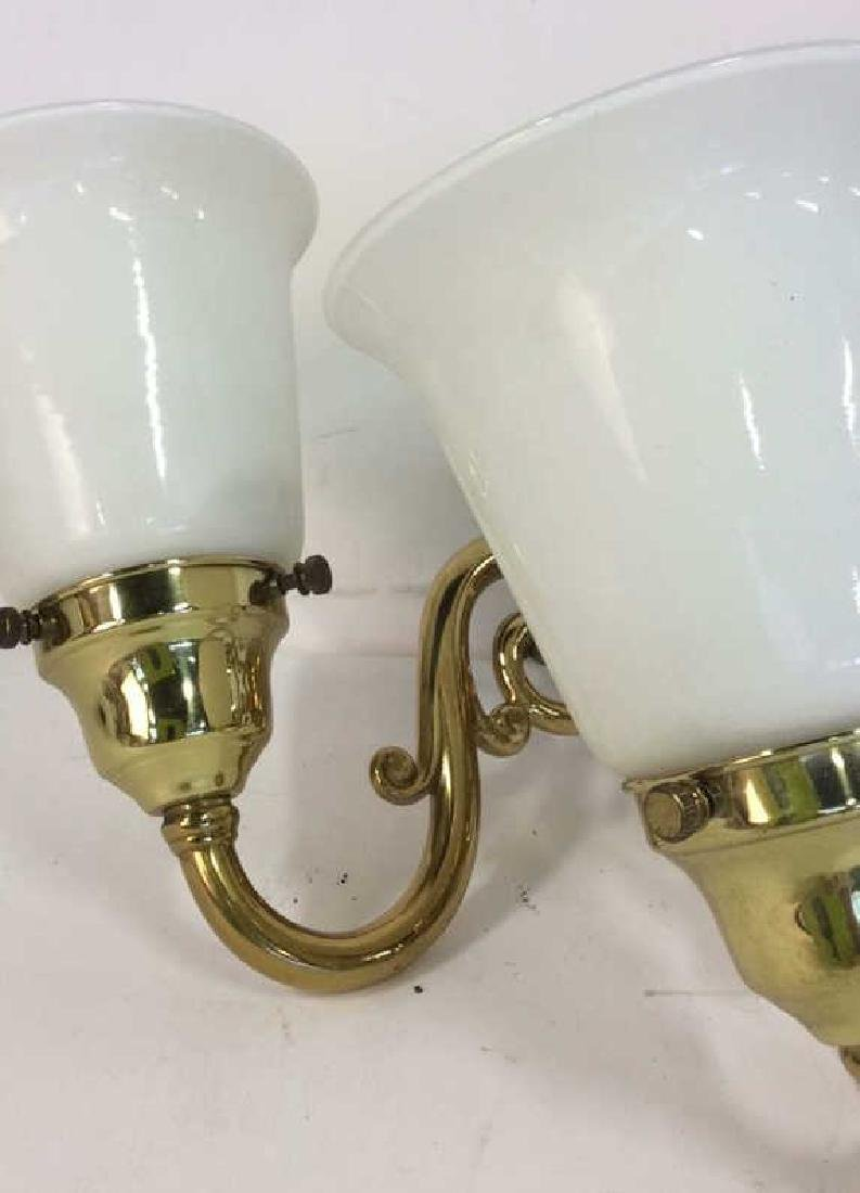 Brass Glass Triple Light Wall Mount Sconce - 4