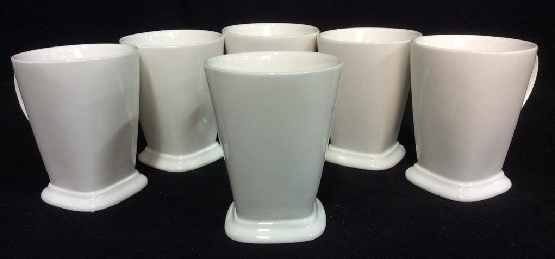 Lot 6 White Toned Geometric Coffee Mugs