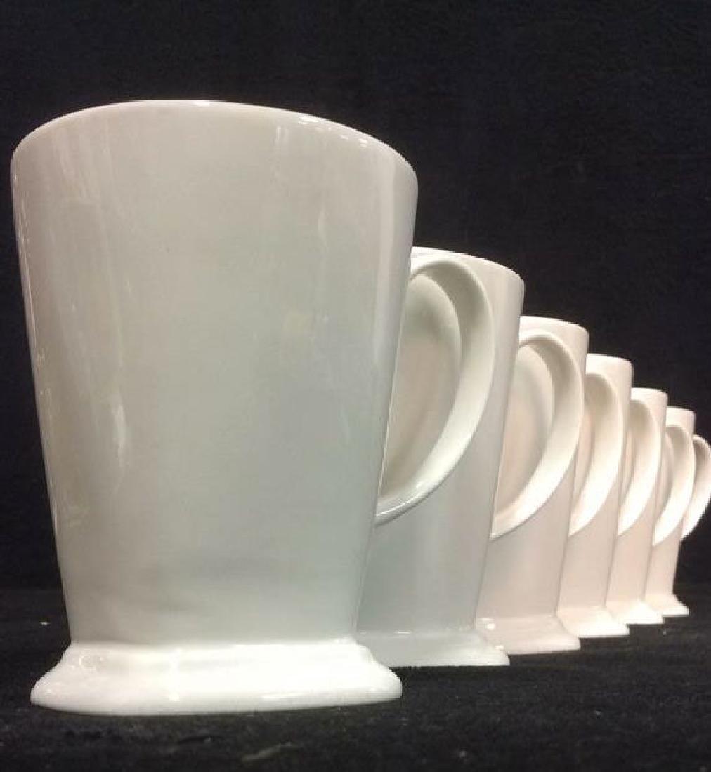 Lot 6 White Toned Geometric Coffee Mugs - 3