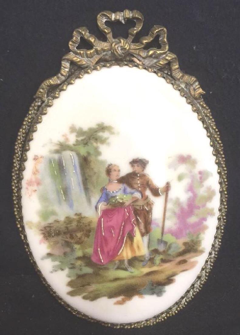 Ceramic Porcelain Painted Plaque In Brass Frame