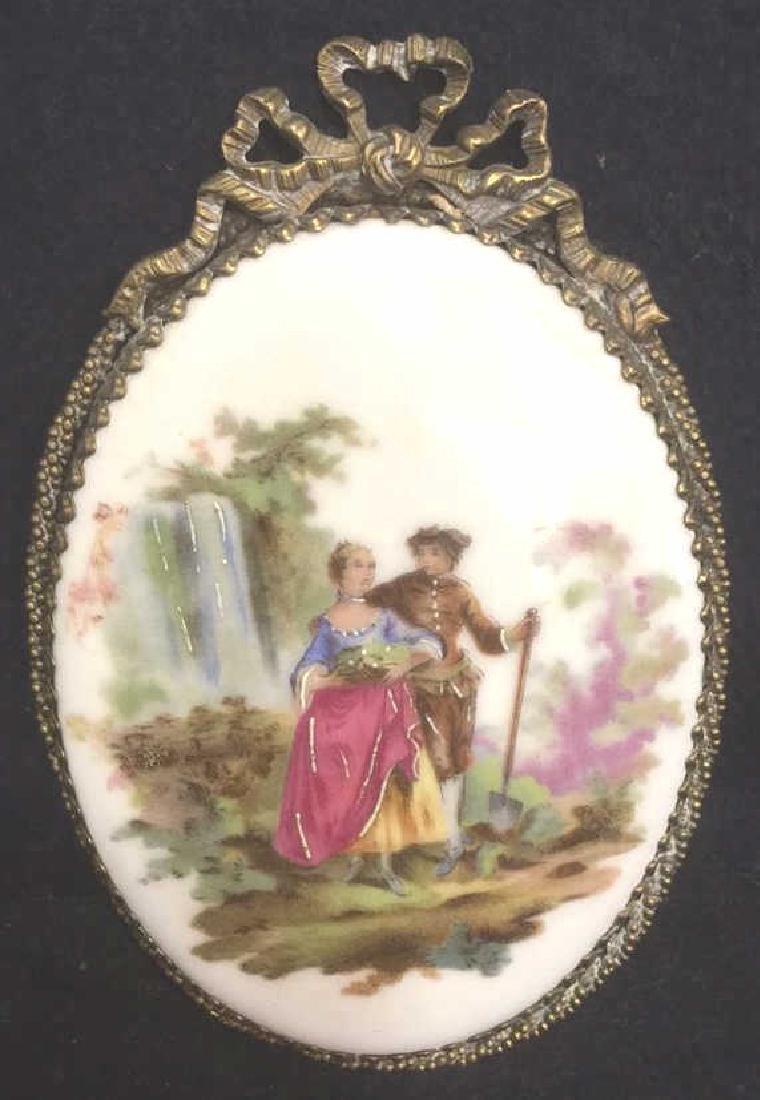 Ceramic Porcelain Painted Plaque In Brass Frame - 2
