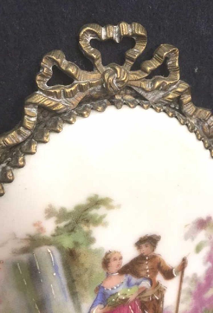 Ceramic Porcelain Painted Plaque In Brass Frame - 3