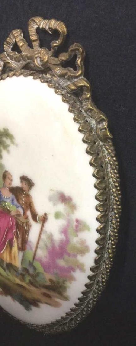 Ceramic Porcelain Painted Plaque In Brass Frame - 6