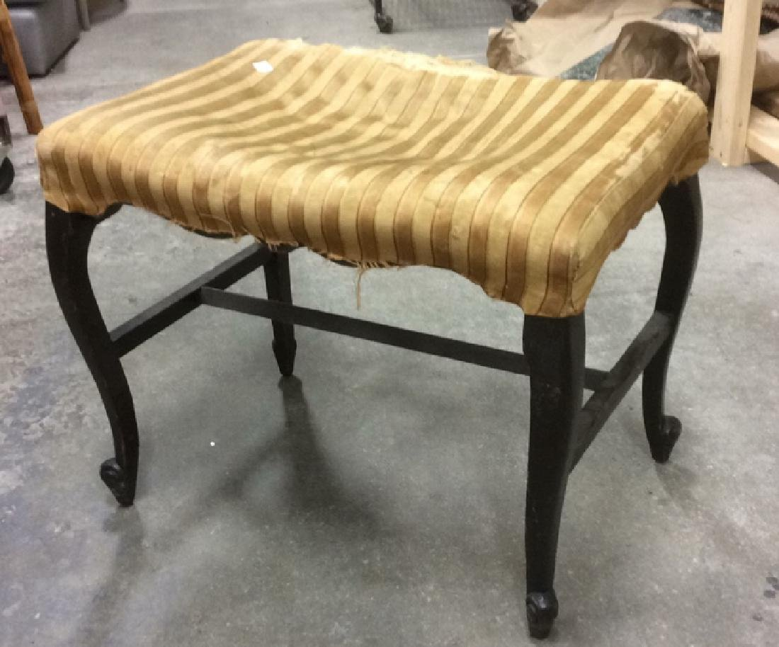 Antique Mahogany Upholstered Bench - 2