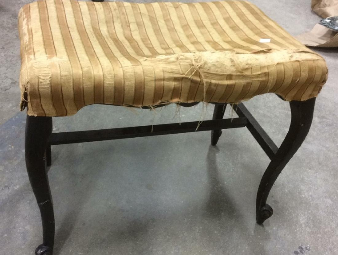 Antique Mahogany Upholstered Bench - 4