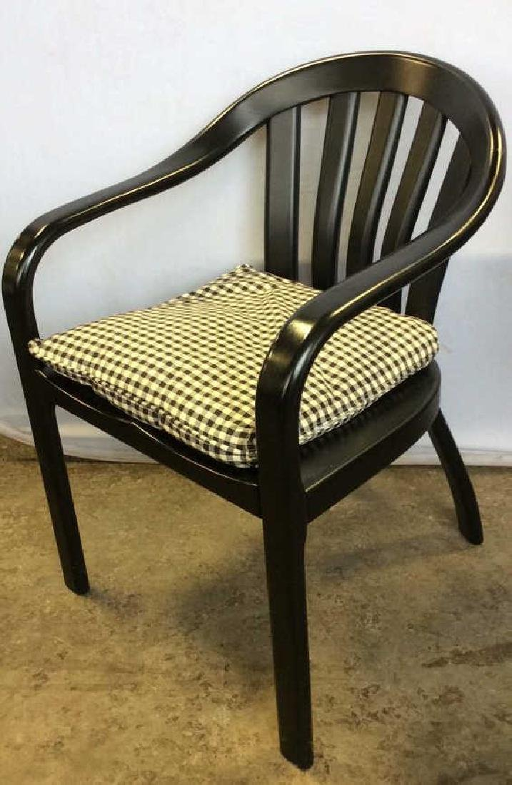 Lot 2 Black Wooden Toned Chair 1 Pillow - 4