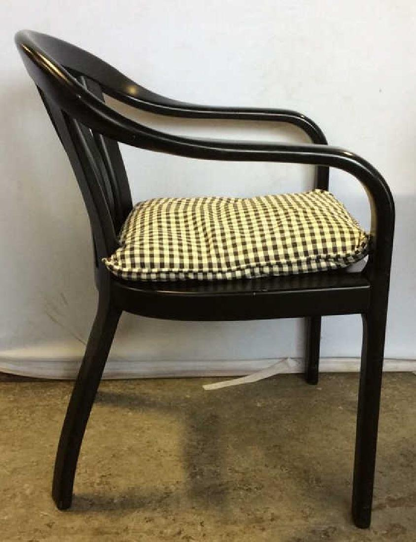 Lot 2 Black Wooden Toned Chair 1 Pillow - 5