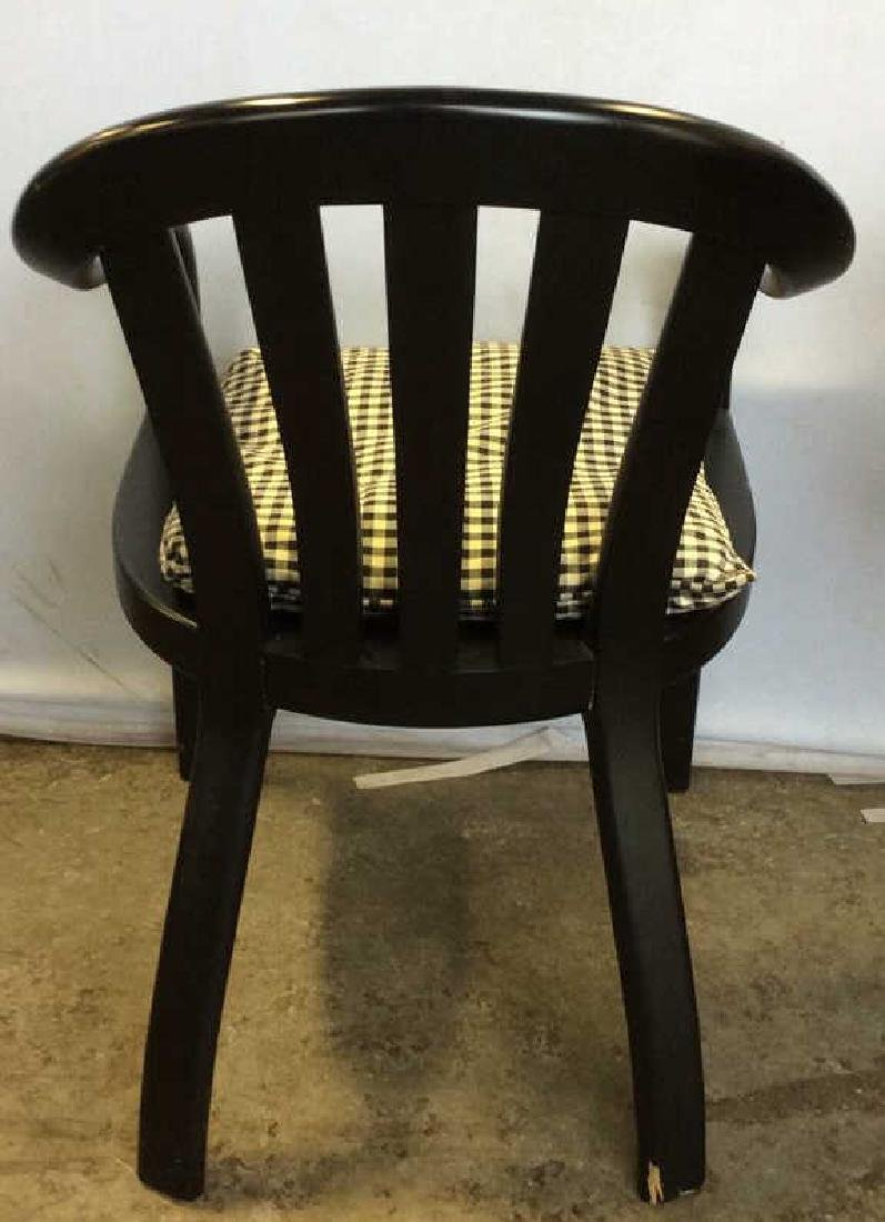 Lot 2 Black Wooden Toned Chair 1 Pillow - 7