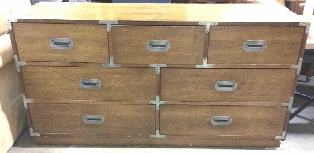 BERNHARDT 7 Drawer Wooden Dresser Campaign Style