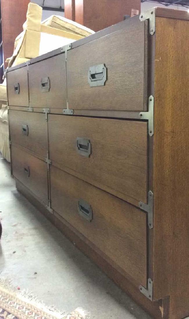 BERNHARDT 7 Drawer Wooden Dresser Campaign Style - 6