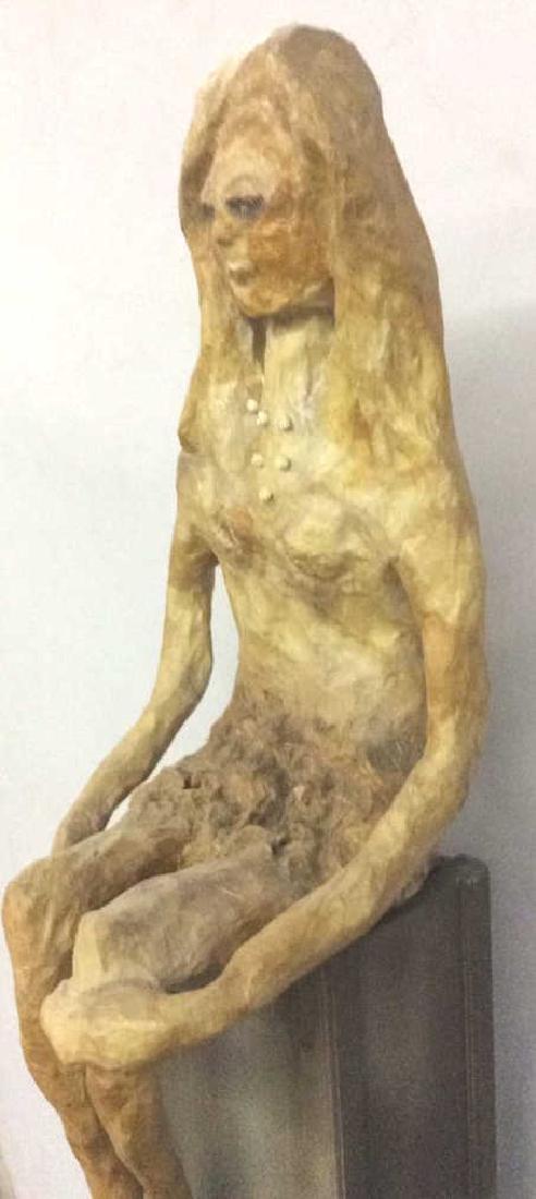 Lot 2 Sitting Woman Paper Mache Sculpture - 3