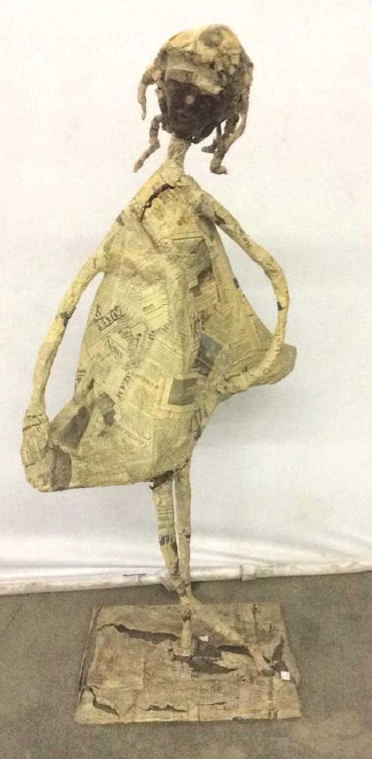 Slim Female Figure Paper Mache Sculpture