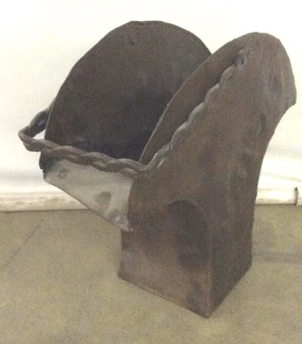 Brown Toned Metal Coal Bin W Handle - 2