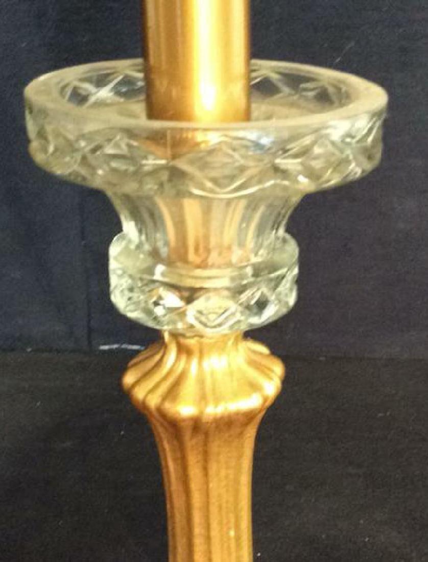 Art Nouveau Gilded Metal Lamp w Shade - 10