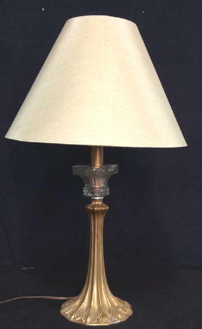 Art Nouveau Gilded Metal Lamp w Shade