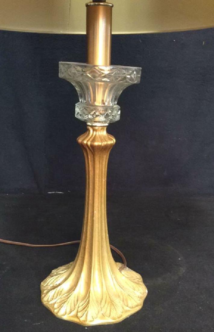 Art Nouveau Gilded Metal Lamp w Shade - 6