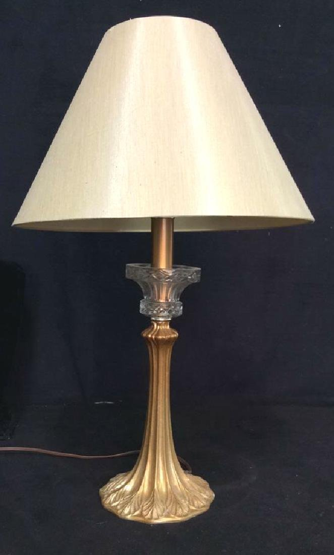 Art Nouveau Gilded Metal Lamp w Shade - 7
