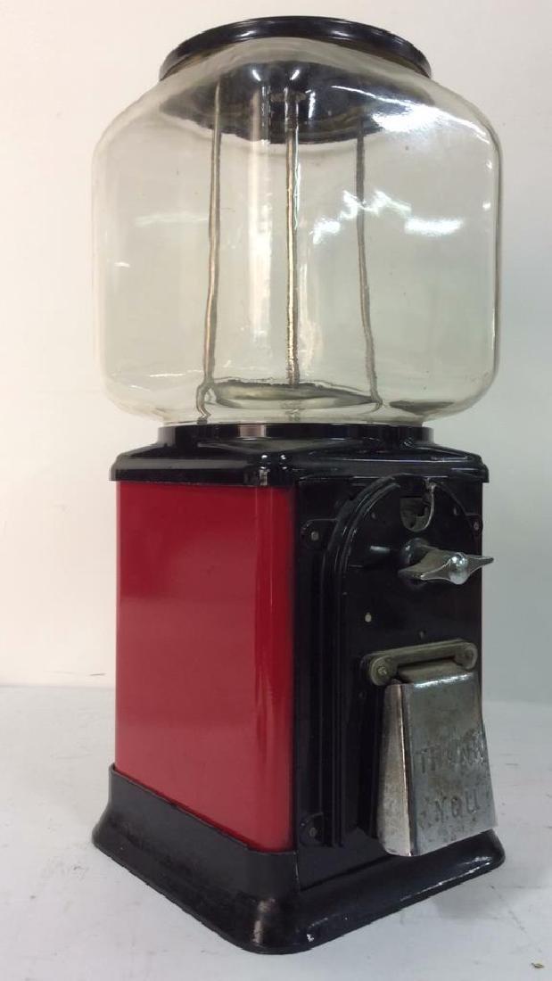 Vintage Metal Glass Painted Gum Ball Machine