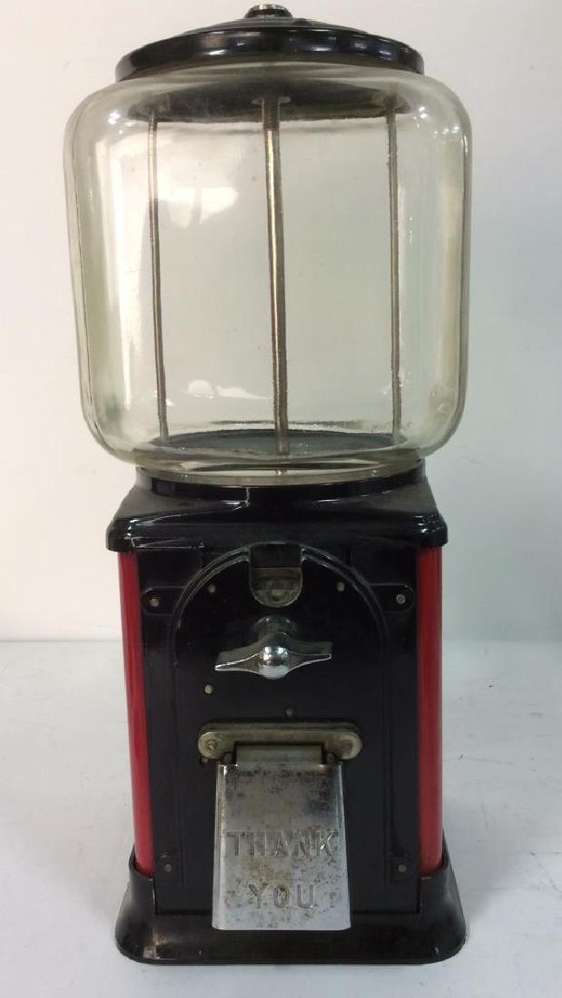 Vintage Metal Glass Painted Gum Ball Machine - 2