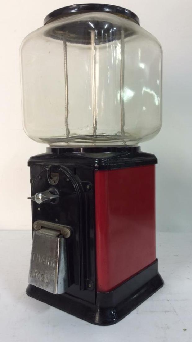 Vintage Metal Glass Painted Gum Ball Machine - 3