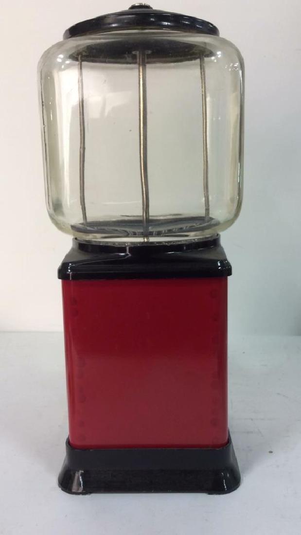 Vintage Metal Glass Painted Gum Ball Machine - 5