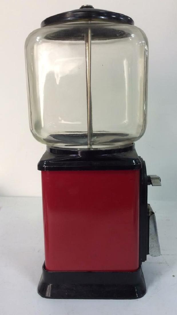 Vintage Metal Glass Painted Gum Ball Machine - 6