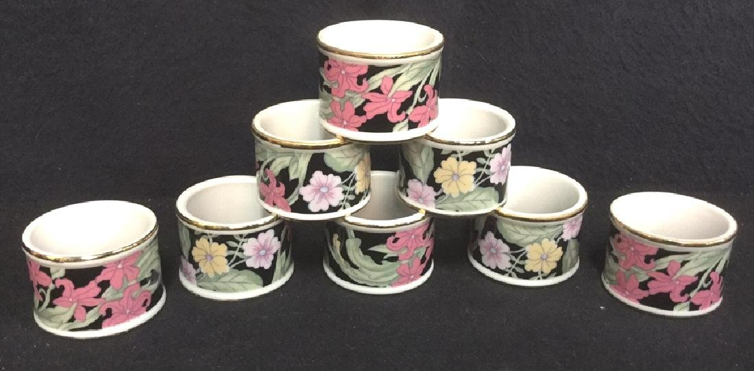 Lot 8 Porcelain Ceramic Floral Napkin Rings