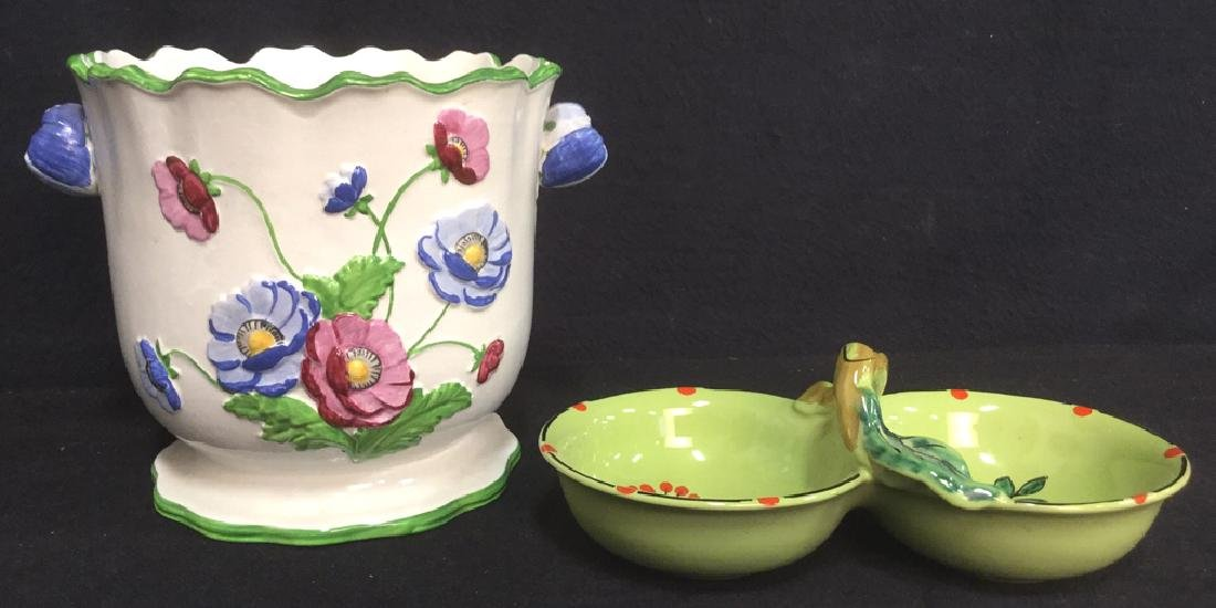 Lot 2 Vintage Hand Painted Italian Planter & Dish