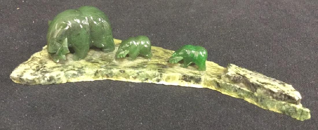 Carved Green Stone Bear Figurals On Stone Base.