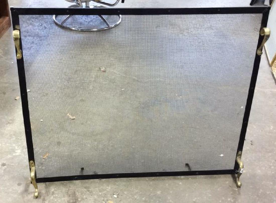 Brass Footed Black Metal Fireplace Screen