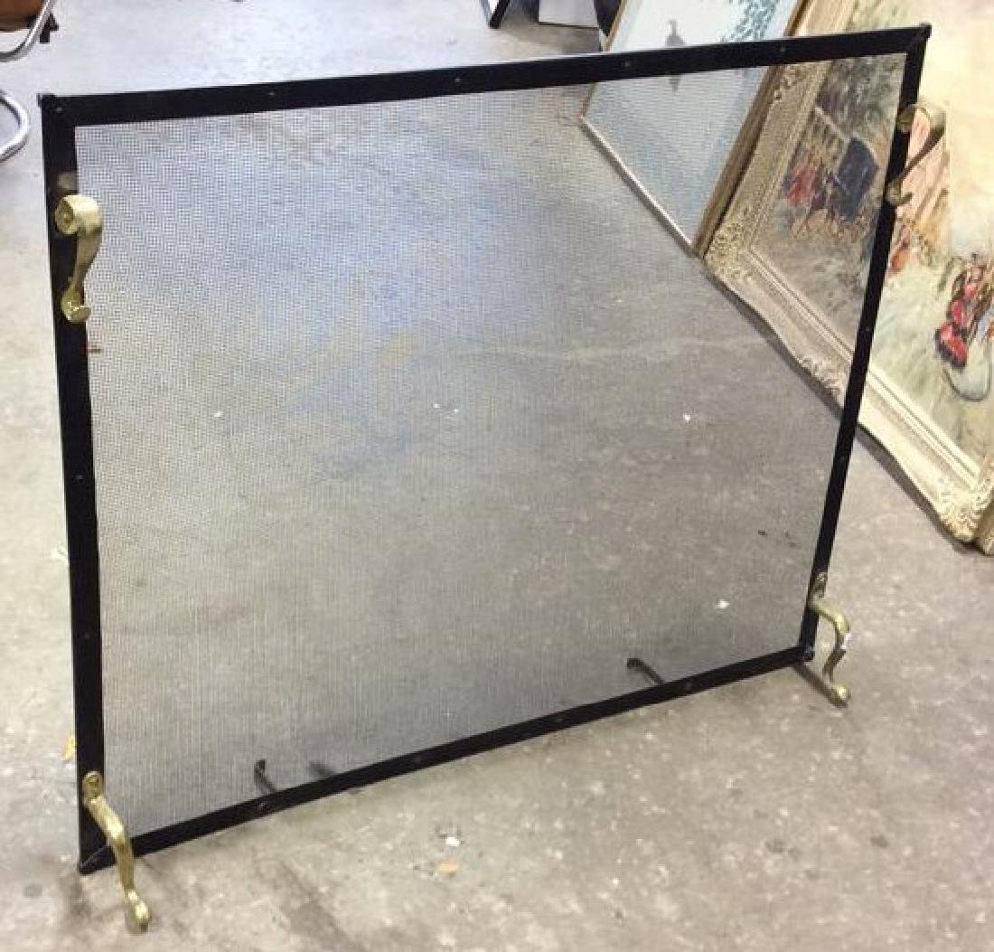 Brass Footed Black Metal Fireplace Screen - 2