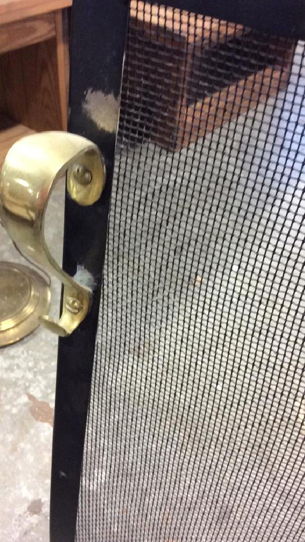 Brass Footed Black Metal Fireplace Screen - 5