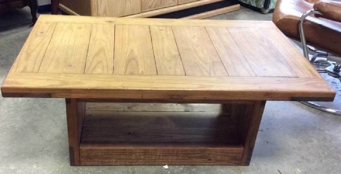 Pine Wood Plank Coffee Table