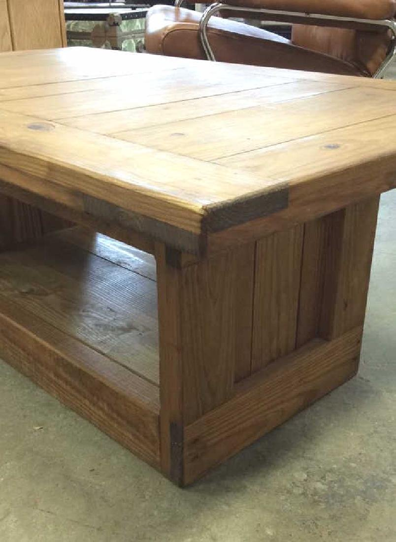 Pine Wood Plank Coffee Table - 5
