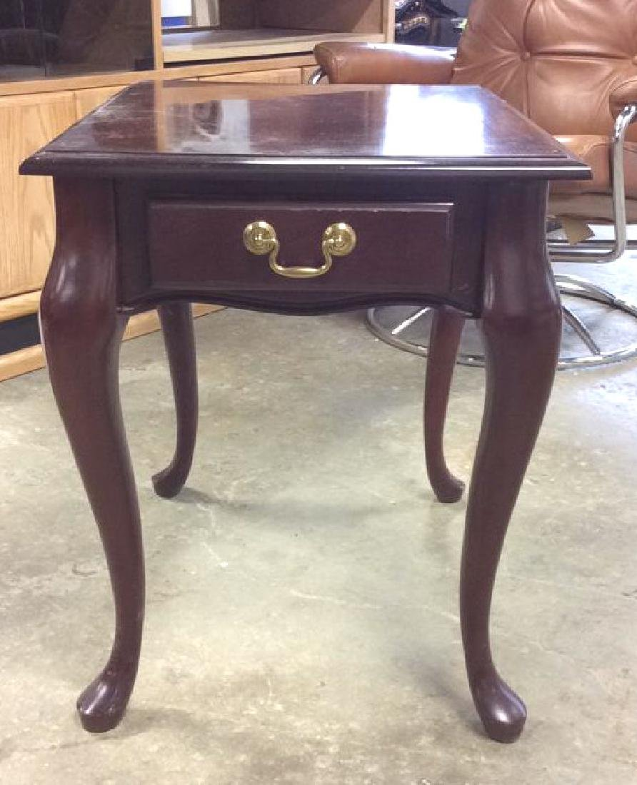 Mahogany Toned Wood End Table - 2