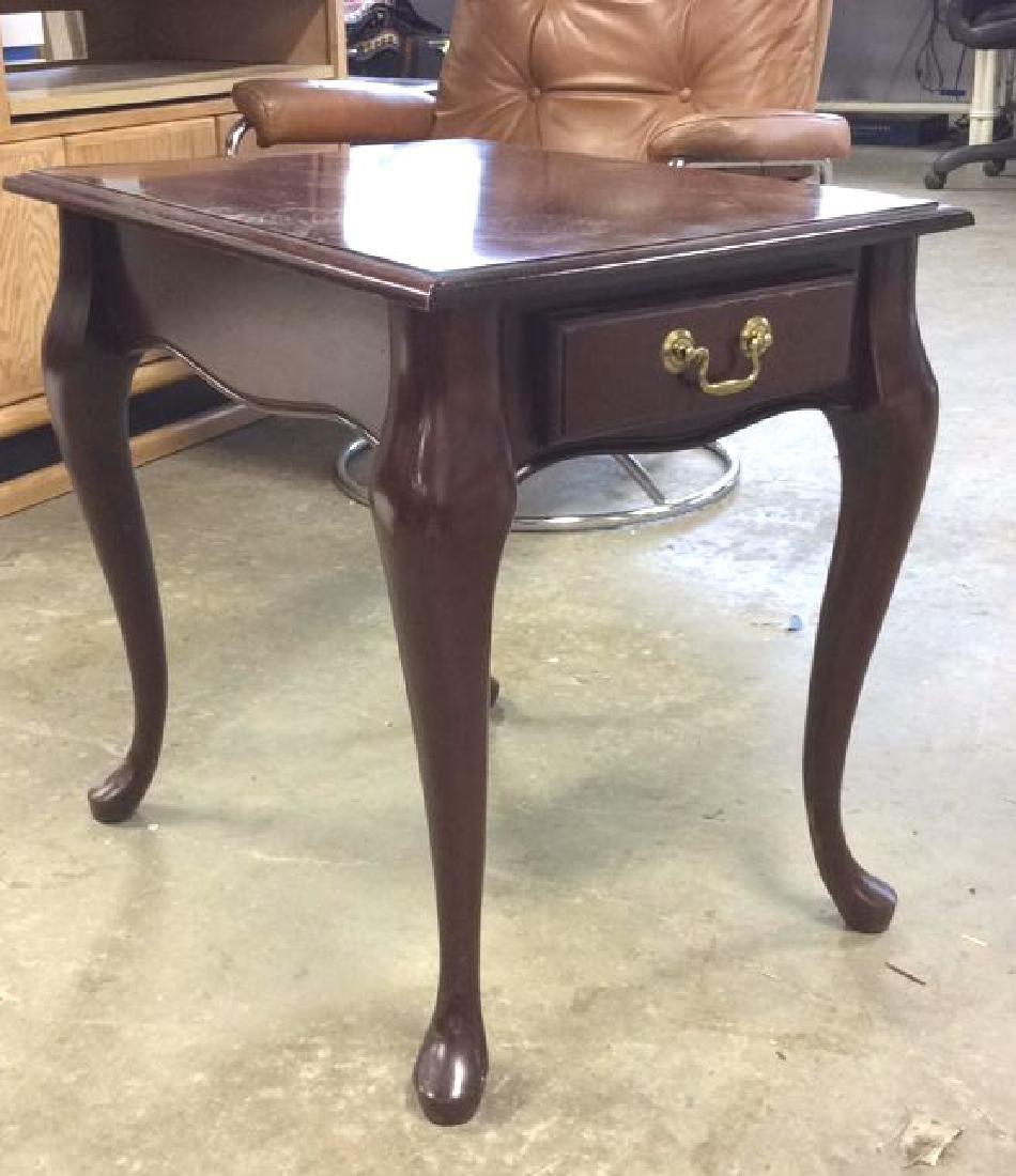 Mahogany Toned Wood End Table - 4