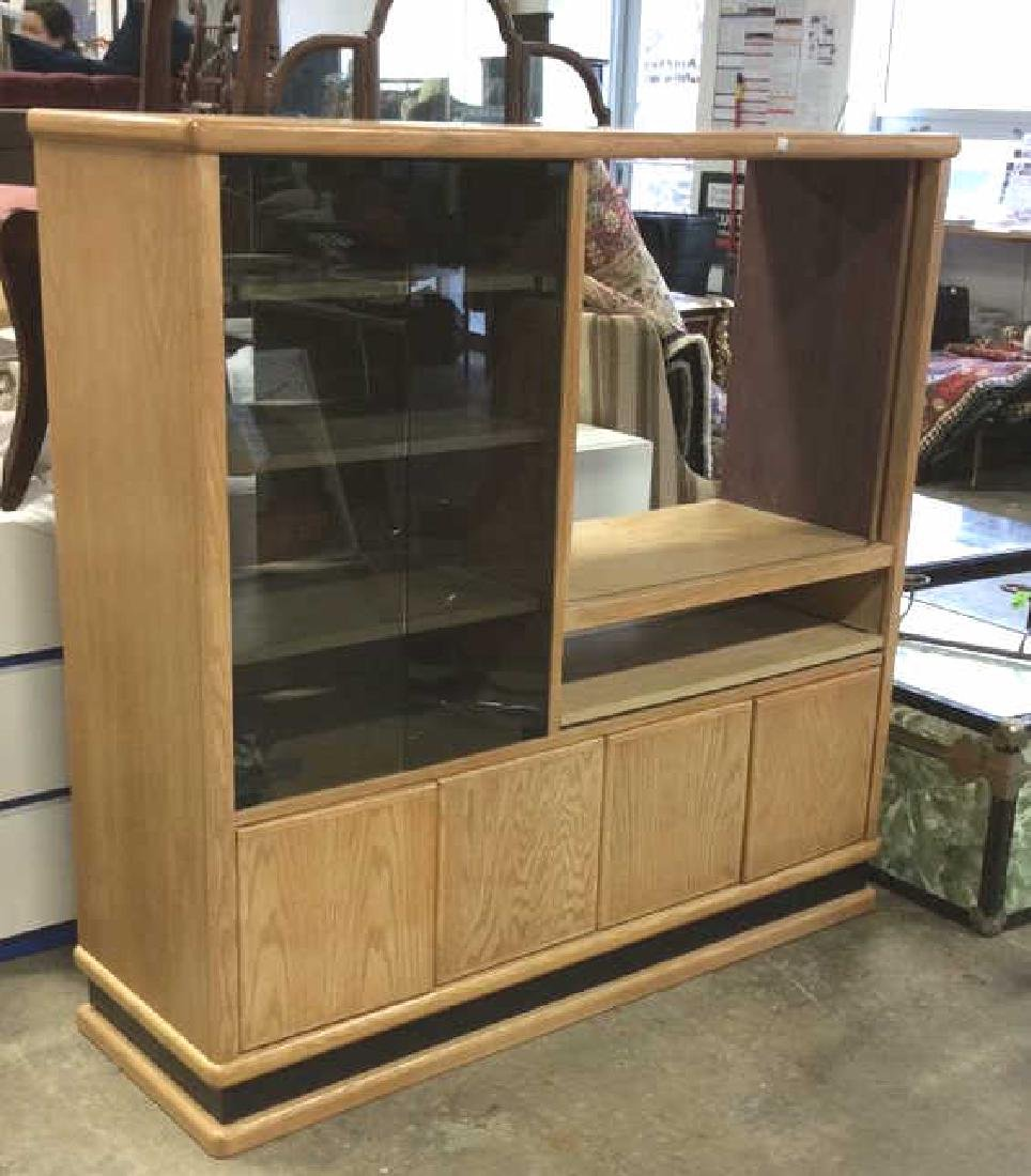 Light Wood and Glass Entertainment Console